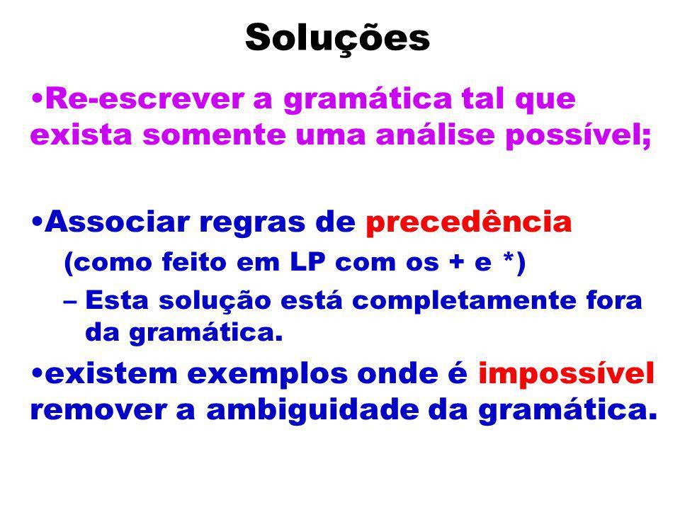 Soluções Re-escrever a gramática tal que exista somente uma análise possível; Associar regras de precedência.