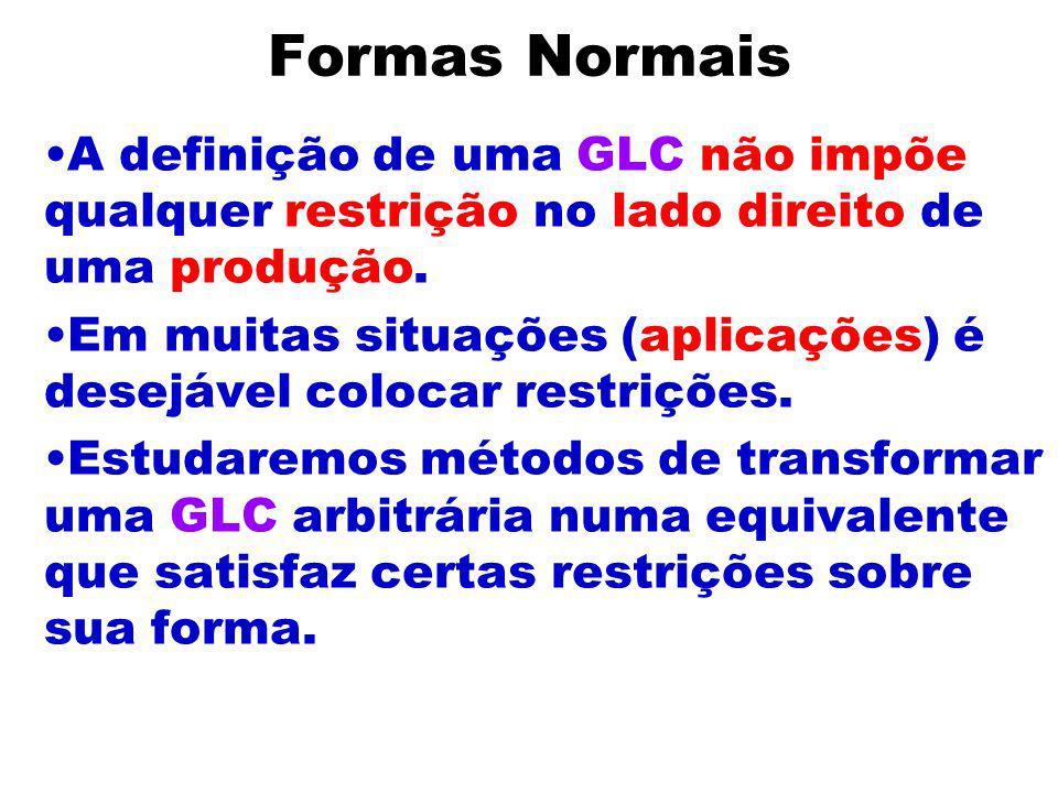 Formas Normais A definição de uma GLC não impõe qualquer restrição no lado direito de uma produção.