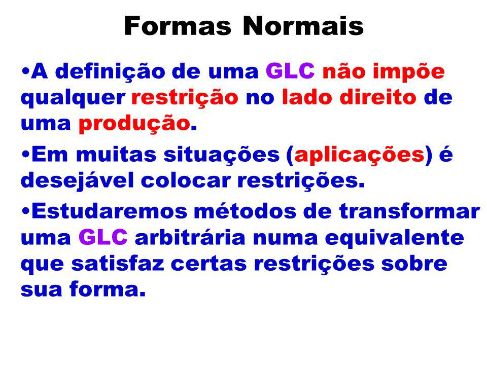 Formas NormaisA definição de uma GLC não impõe qualquer restrição no lado direito de uma produção.