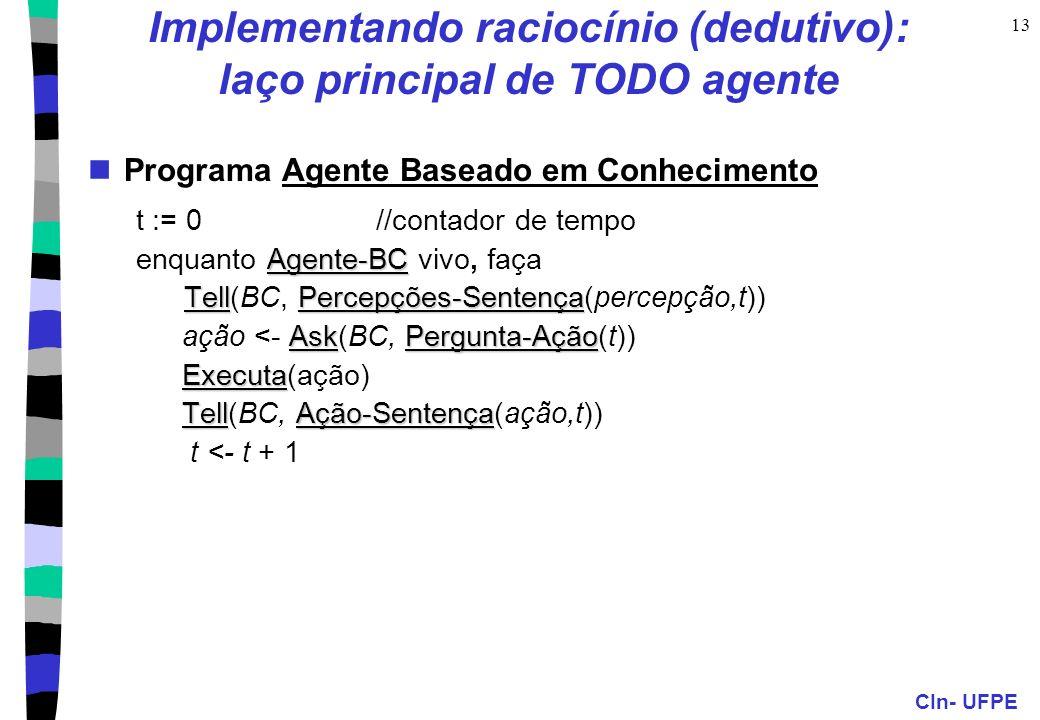 Implementando raciocínio (dedutivo): laço principal de TODO agente