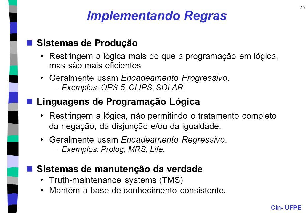 Implementando Regras Sistemas de Produção