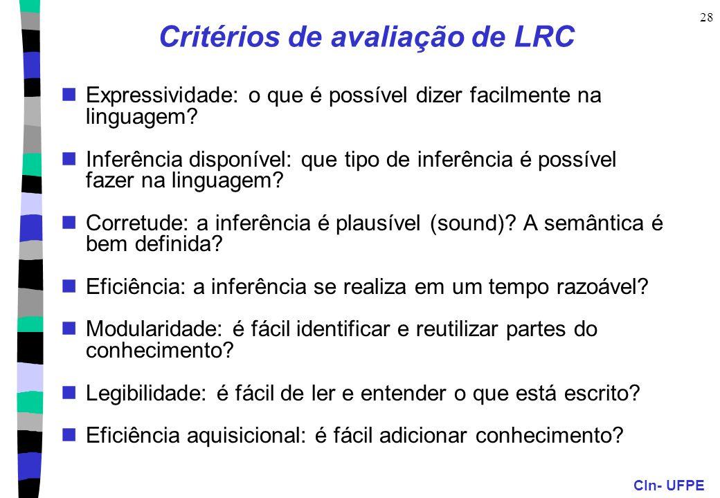 Critérios de avaliação de LRC