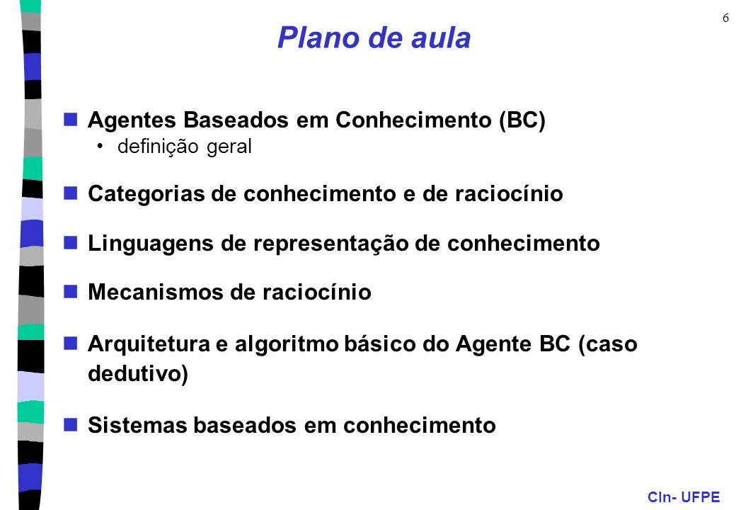 Plano de aula Agentes Baseados em Conhecimento (BC)
