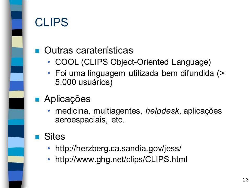 CLIPS Outras caraterísticas Aplicações Sites