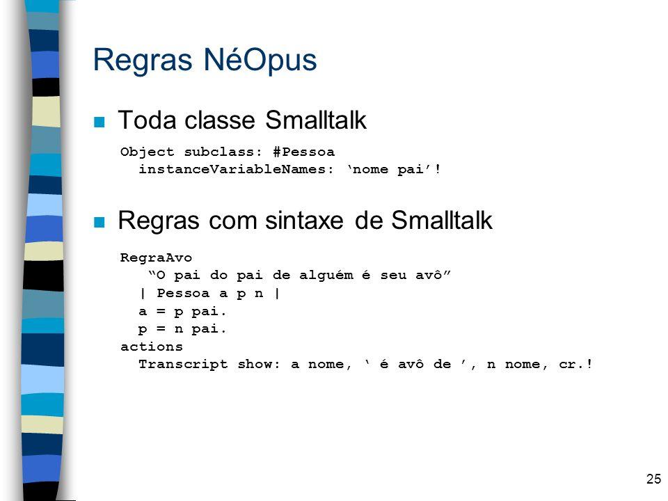 Regras NéOpus Toda classe Smalltalk Regras com sintaxe de Smalltalk