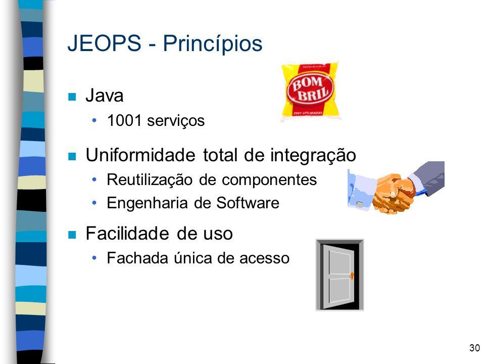 JEOPS - Princípios Java Uniformidade total de integração