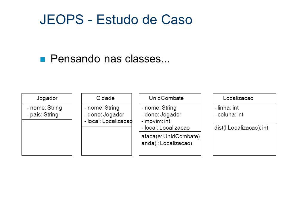 JEOPS - Estudo de Caso Pensando nas classes... Jogador Cidade