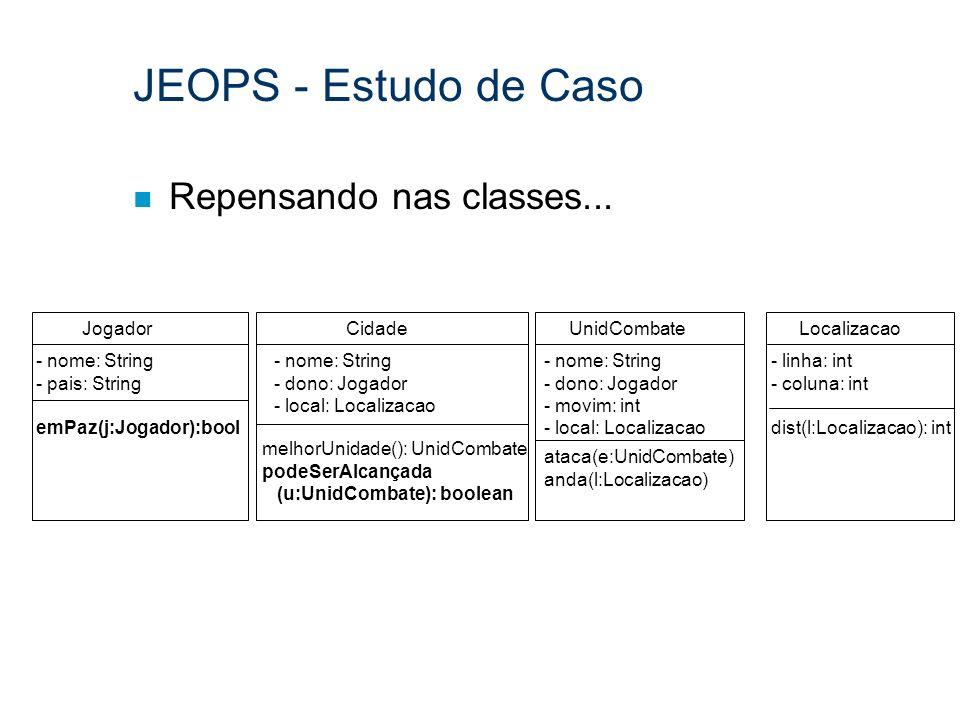 JEOPS - Estudo de Caso Repensando nas classes... Jogador Cidade