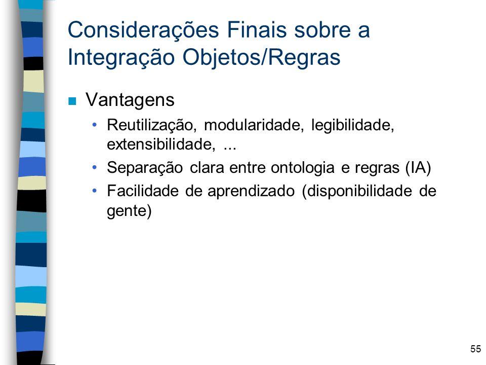Considerações Finais sobre a Integração Objetos/Regras