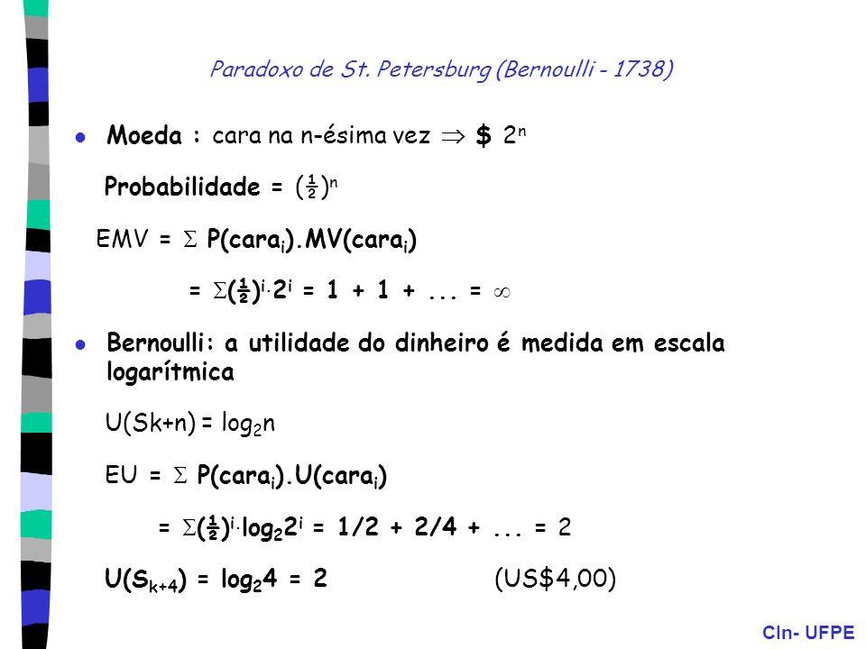 Paradoxo de St. Petersburg (Bernoulli - 1738)