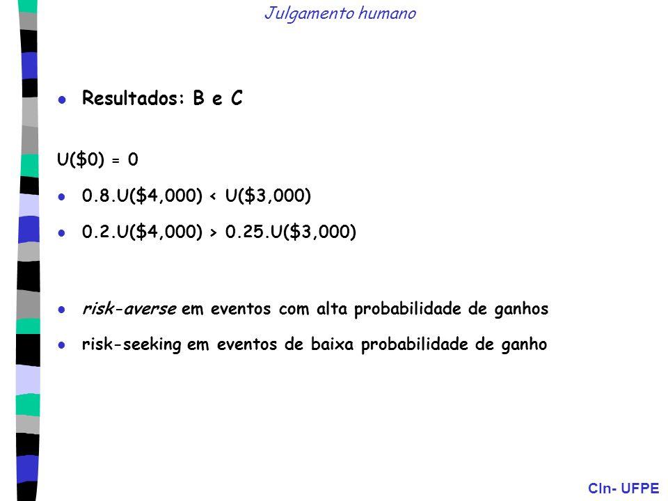 Resultados: B e C Julgamento humano U($0) = 0