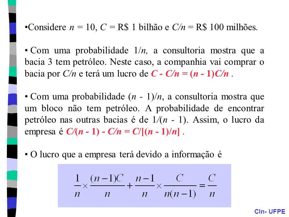 Considere n = 10, C = R$ 1 bilhão e C/n = R$ 100 milhões.