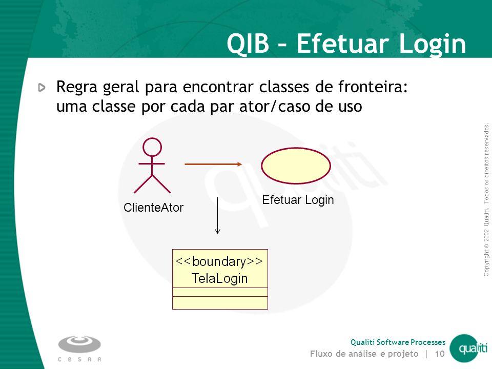 QIB – Efetuar Login mar-17. Regra geral para encontrar classes de fronteira: uma classe por cada par ator/caso de uso.