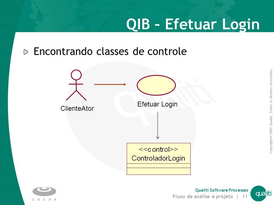 QIB – Efetuar Login Encontrando classes de controle Efetuar Login