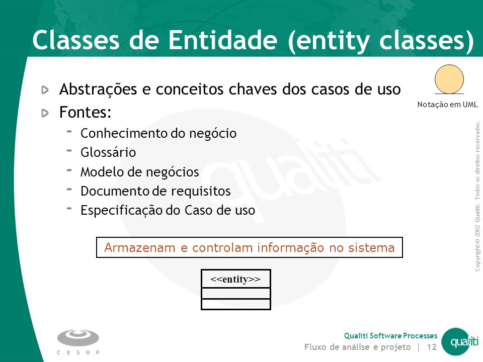 Classes de Entidade (entity classes)