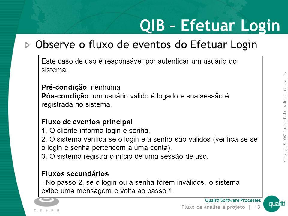 QIB – Efetuar Login Observe o fluxo de eventos do Efetuar Login