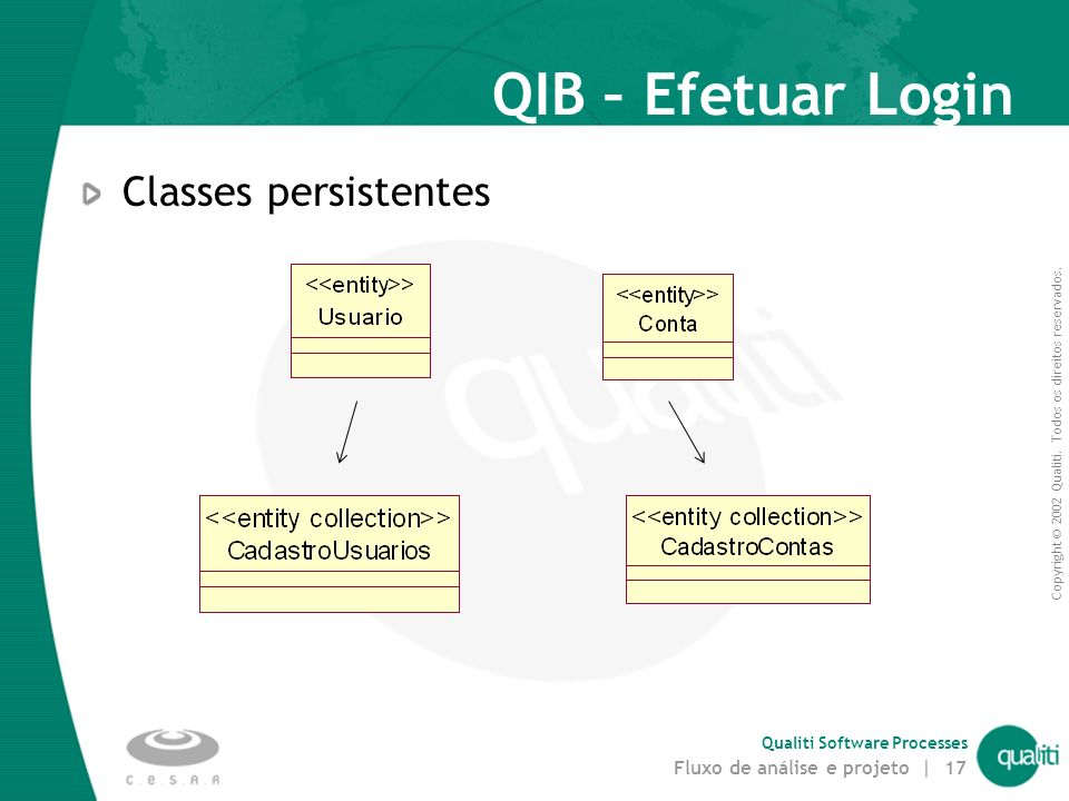 QIB – Efetuar Login Classes persistentes