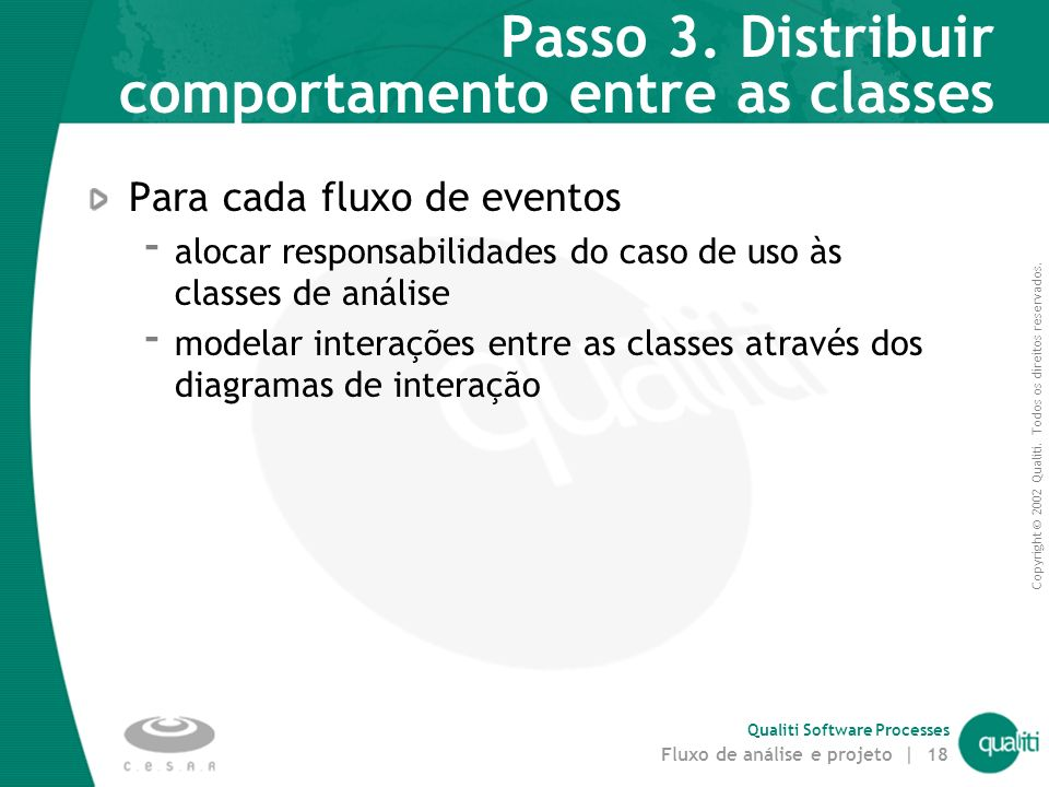 Passo 3. Distribuir comportamento entre as classes