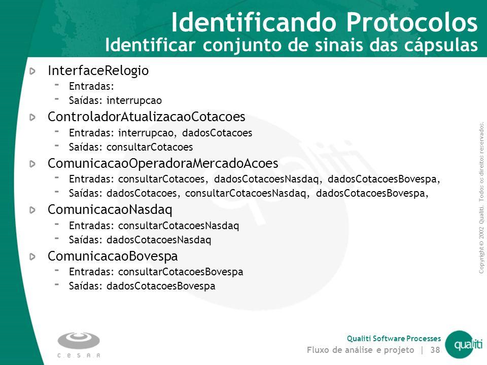 Identificando Protocolos Identificar conjunto de sinais das cápsulas