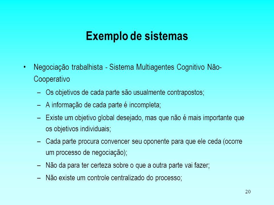 Exemplo de sistemas Negociação trabalhista - Sistema Multiagentes Cognitivo Não-Cooperativo. Os objetivos de cada parte são usualmente contrapostos;