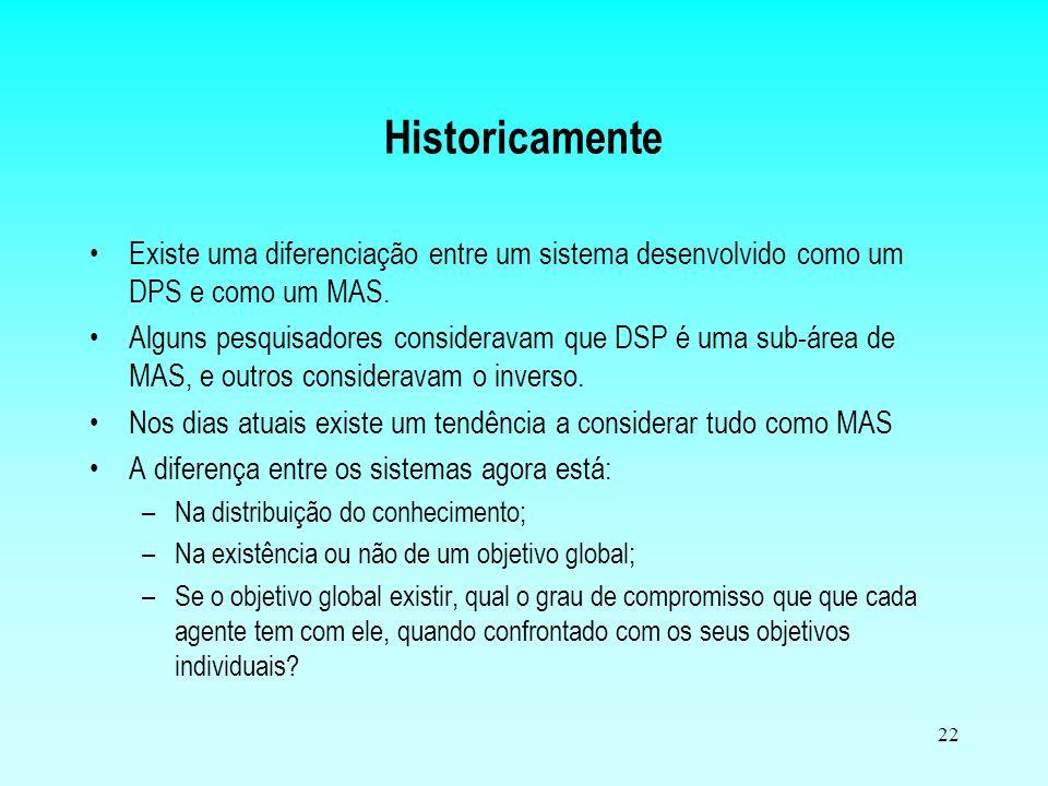 Historicamente Existe uma diferenciação entre um sistema desenvolvido como um DPS e como um MAS.