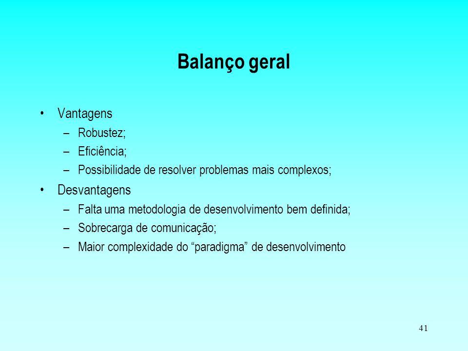 Balanço geral Vantagens Desvantagens Robustez; Eficiência;