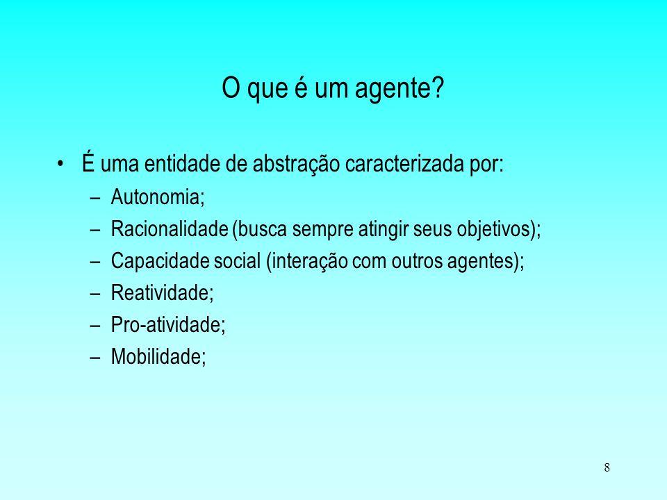 O que é um agente É uma entidade de abstração caracterizada por: