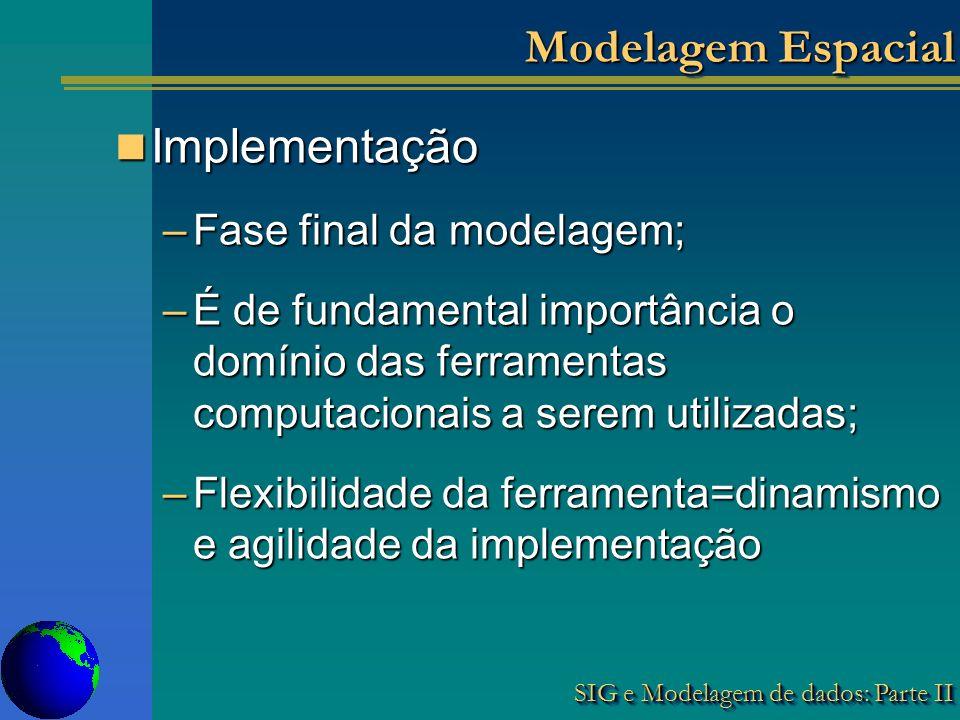 Modelagem Espacial Implementação Fase final da modelagem;