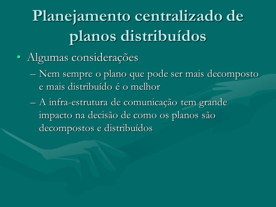 Planejamento centralizado de planos distribuídos