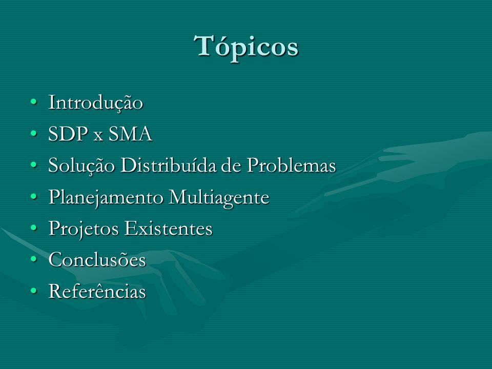 Tópicos Introdução SDP x SMA Solução Distribuída de Problemas