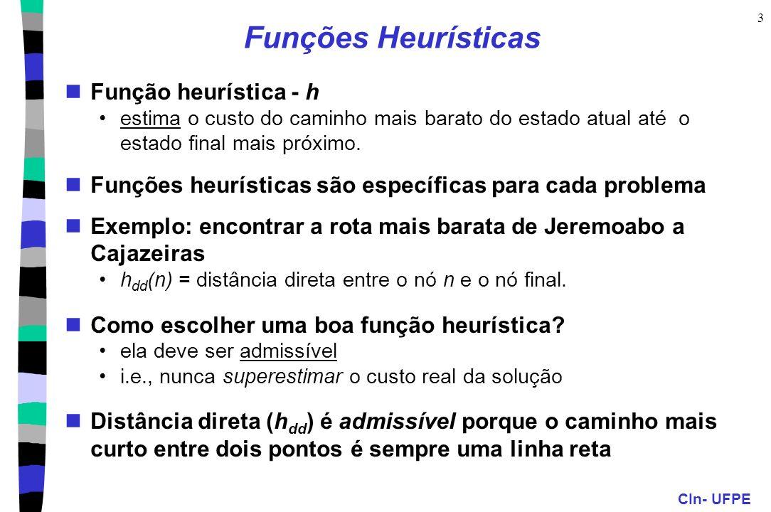 Funções Heurísticas Função heurística - h