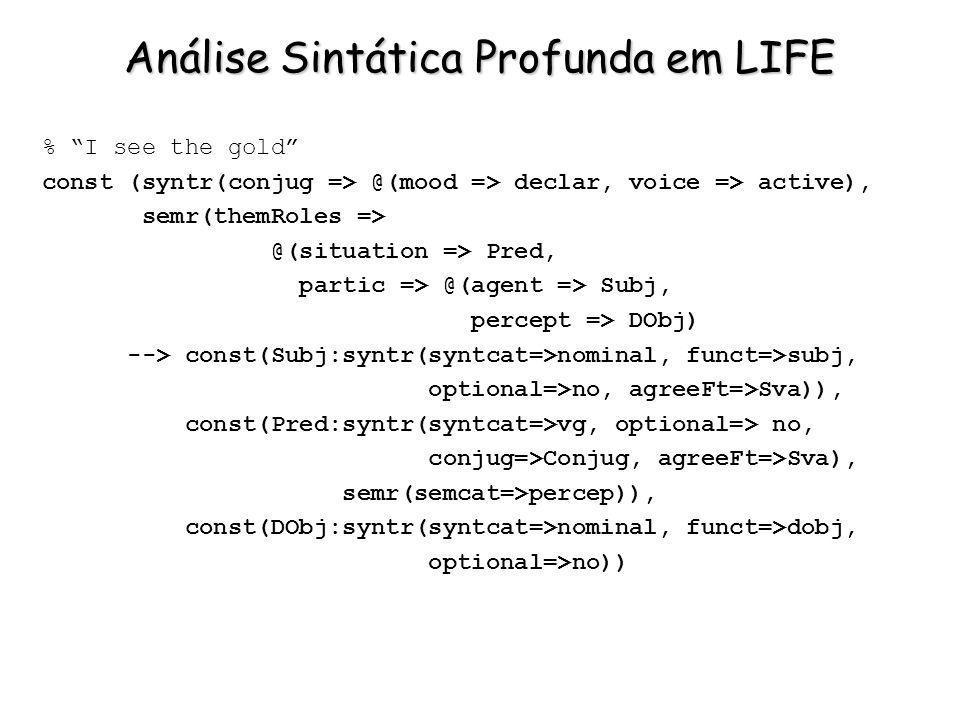 Análise Sintática Profunda em LIFE