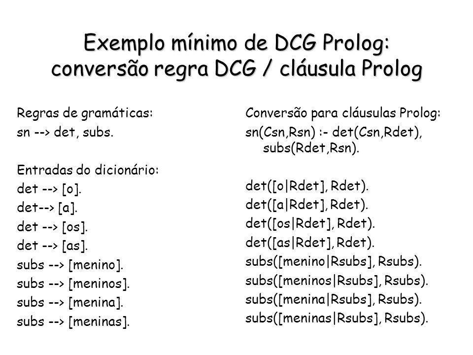 Exemplo mínimo de DCG Prolog: conversão regra DCG / cláusula Prolog