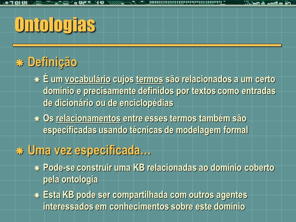 Ontologias Definição Uma vez especificada…