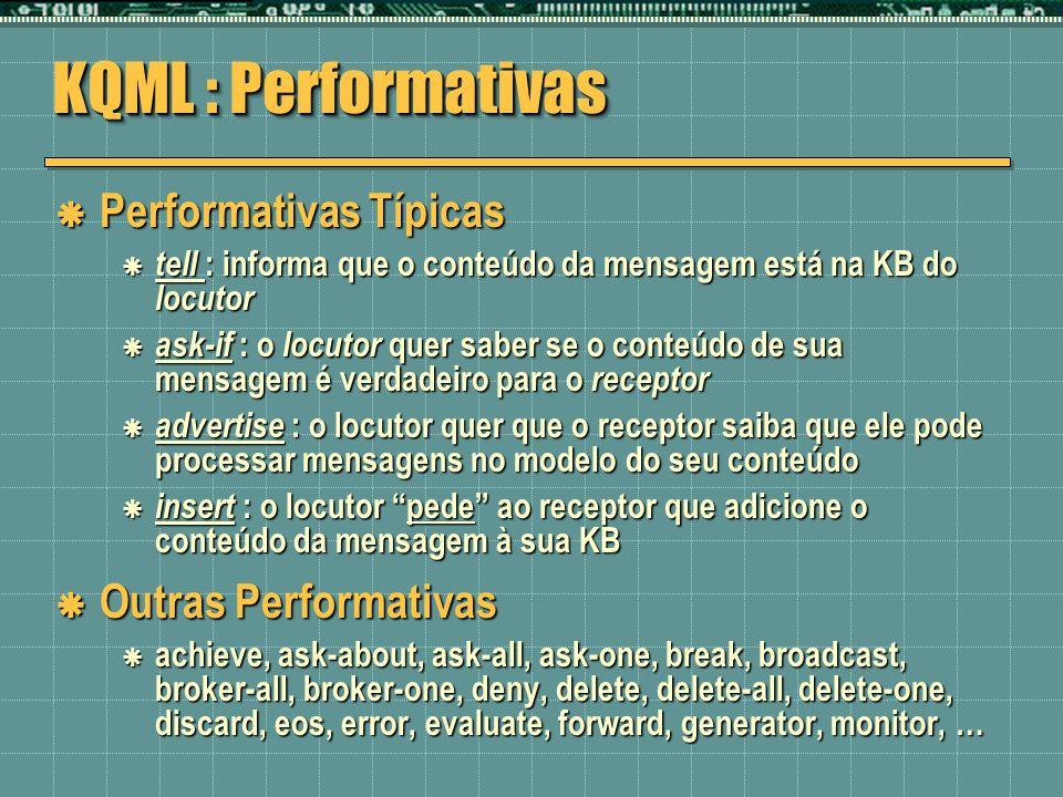 KQML : Performativas Performativas Típicas Outras Performativas