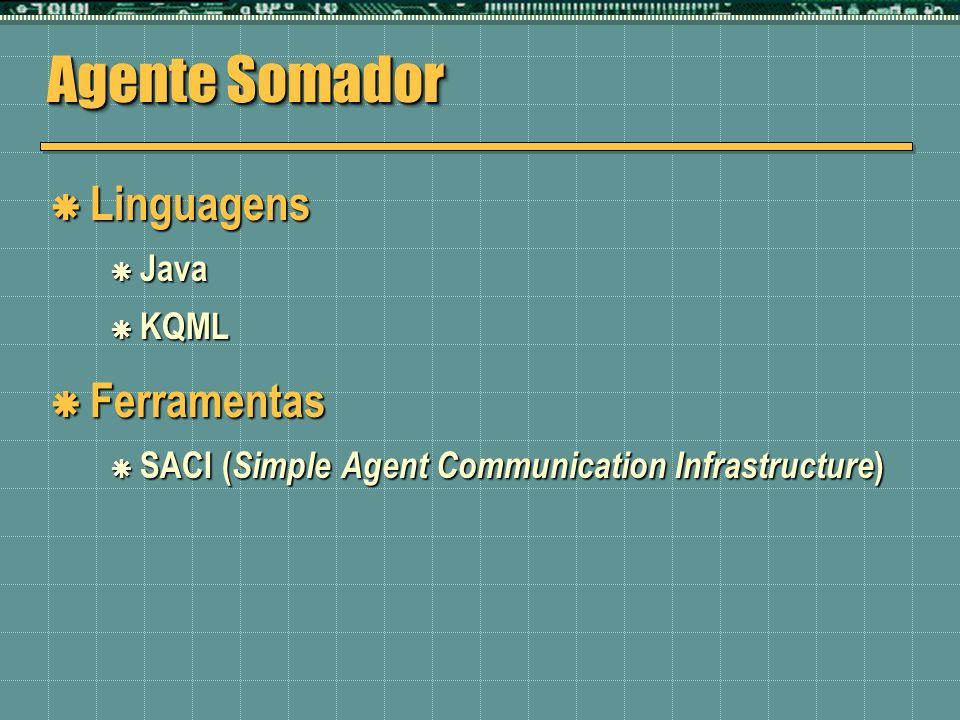 Agente Somador Linguagens Ferramentas Java KQML