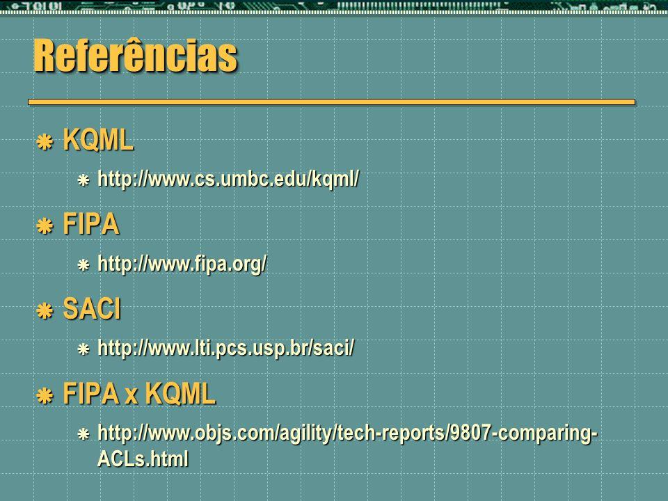 Referências KQML FIPA SACI FIPA x KQML http://www.cs.umbc.edu/kqml/