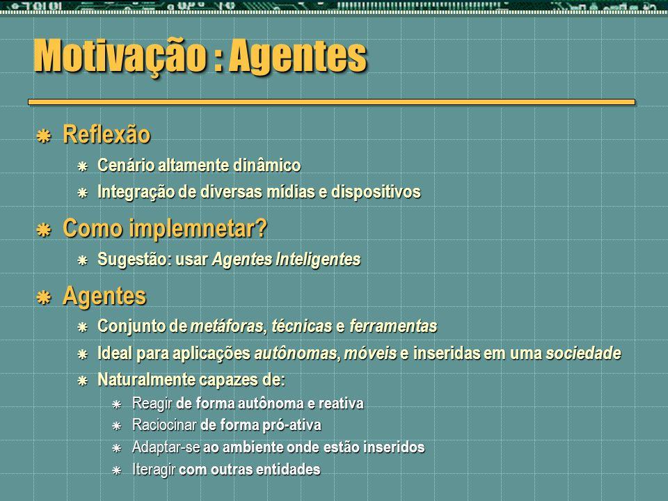 Motivação : Agentes Reflexão Como implemnetar Agentes