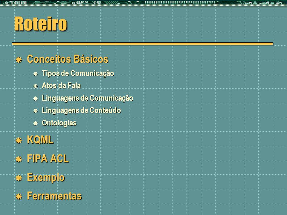 Roteiro Conceitos Básicos KQML FIPA ACL Exemplo Ferramentas