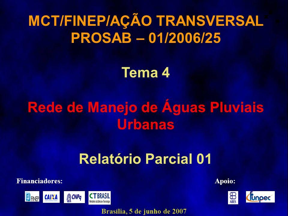 MCT/FINEP/AÇÃO TRANSVERSAL Rede de Manejo de Águas Pluviais Urbanas