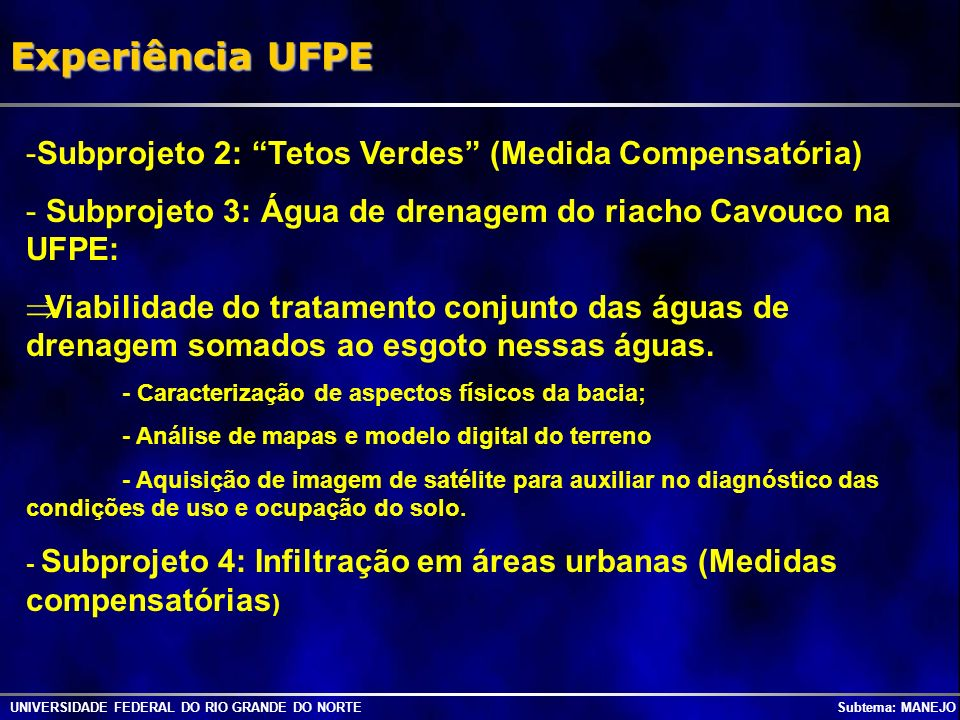 Experiência UFPE Subprojeto 2: Tetos Verdes (Medida Compensatória)