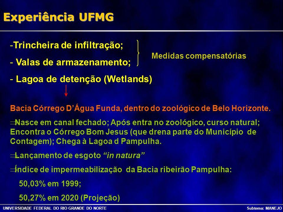 Experiência UFMG Trincheira de infiltração; Valas de armazenamento;
