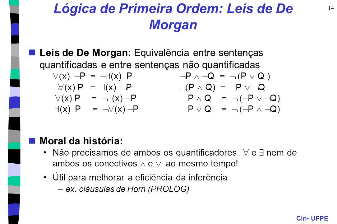 Lógica de Primeira Ordem: Leis de De Morgan