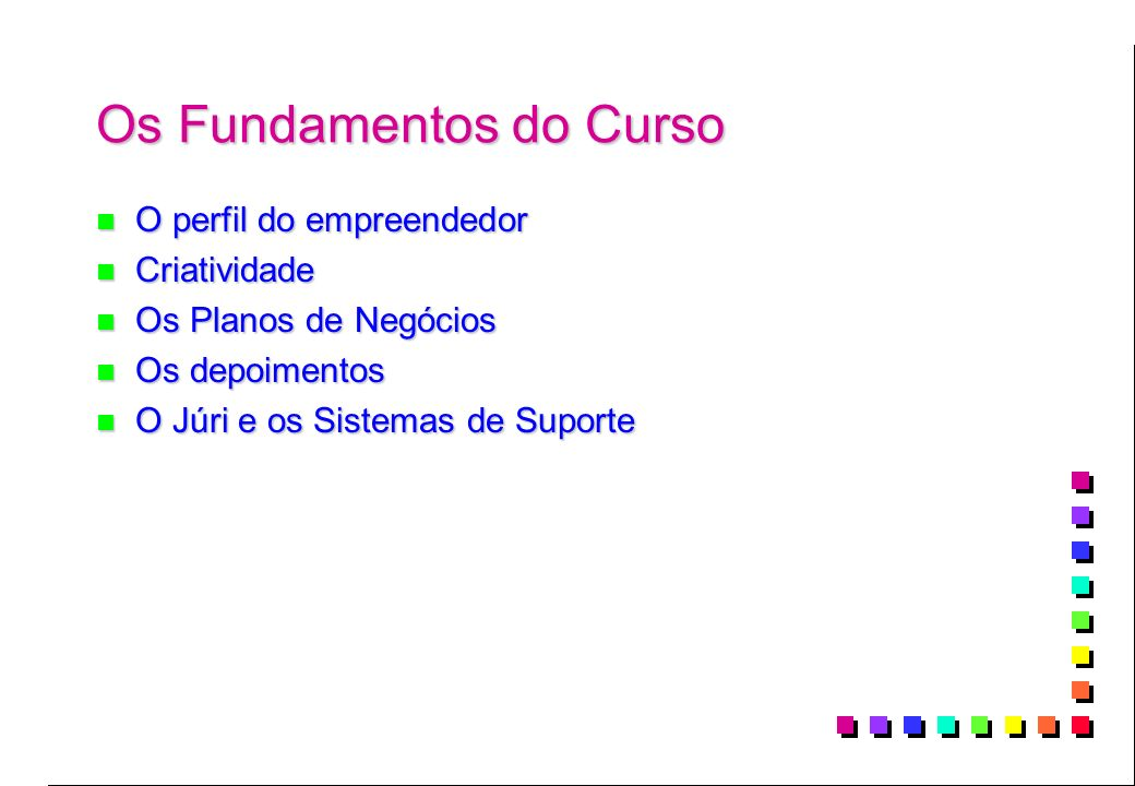 Os Fundamentos do Curso