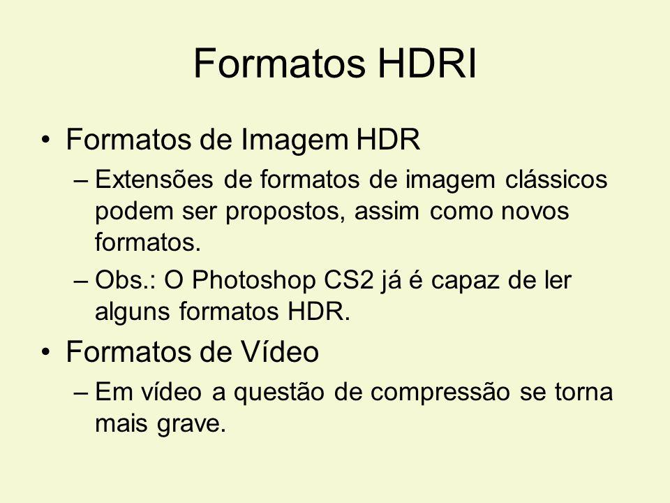 Formatos HDRI Formatos de Imagem HDR Formatos de Vídeo