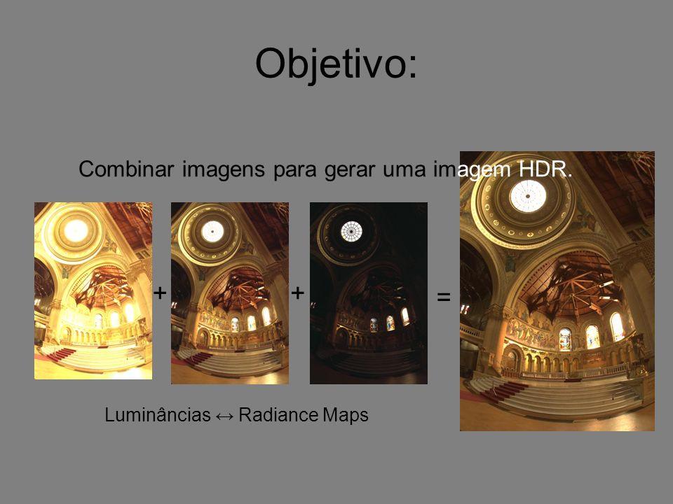 Objetivo: + + = Combinar imagens para gerar uma imagem HDR.