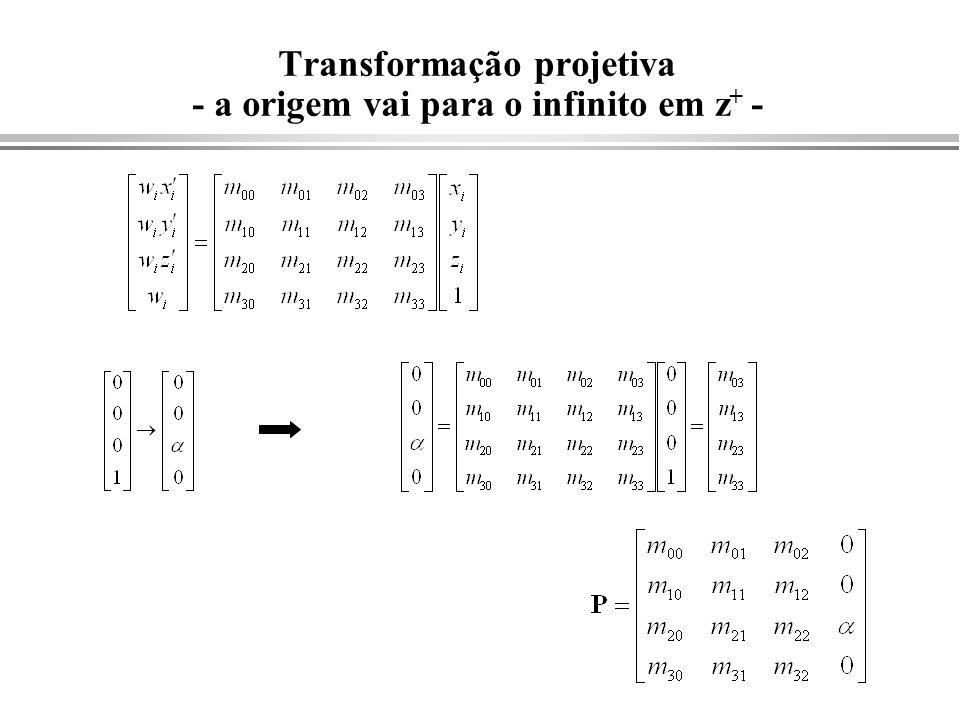 Transformação projetiva - a origem vai para o infinito em z+ -
