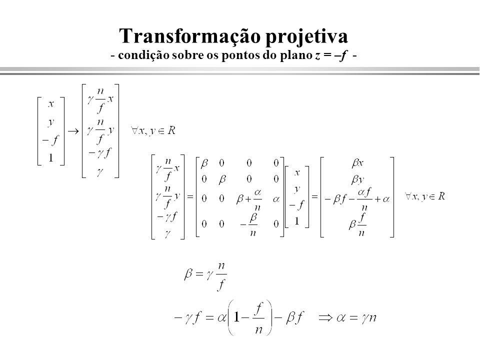 Transformação projetiva - condição sobre os pontos do plano z = –f -