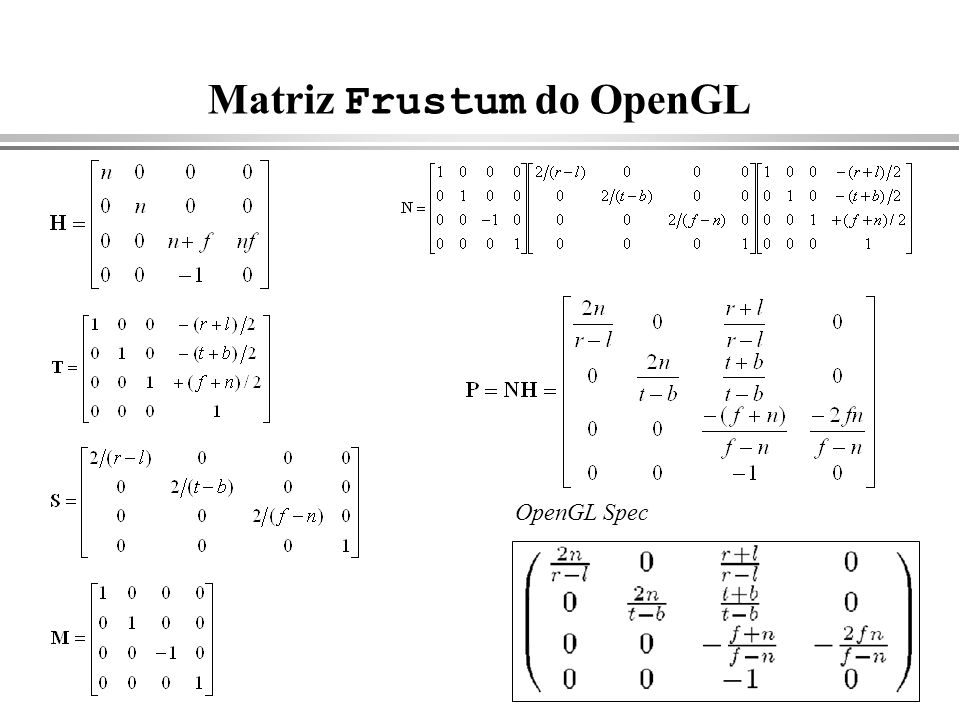 Matriz Frustum do OpenGL