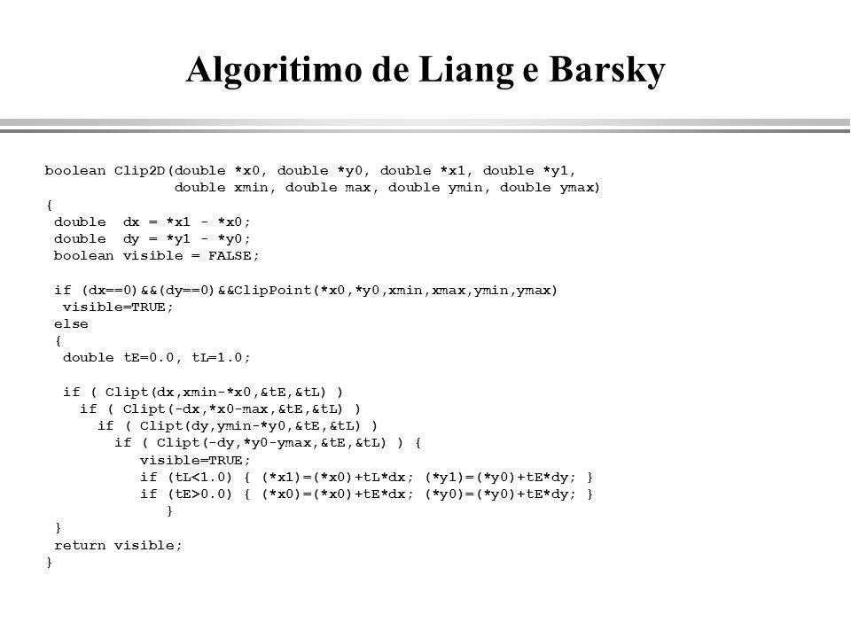 Algoritimo de Liang e Barsky